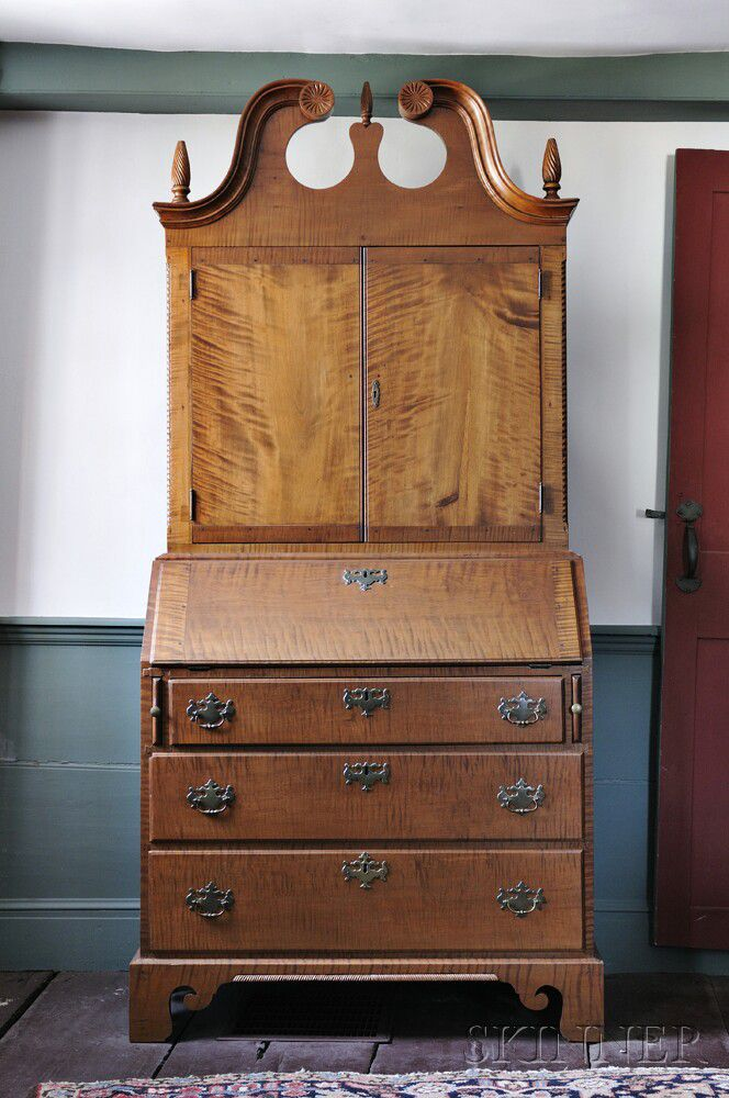 Tiger Maple And Apple Wood Desk Bookcase Sale Number 2897m Lot Number 290 Skinner Auctioneers