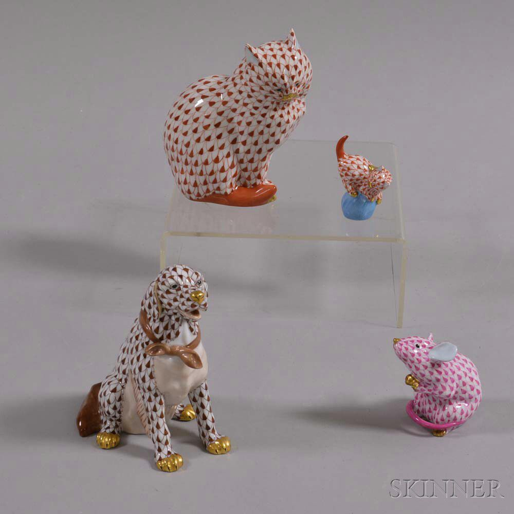 Two Herend Porcelain Cats, a Dog, and a Mouse | Sale Number 2974T