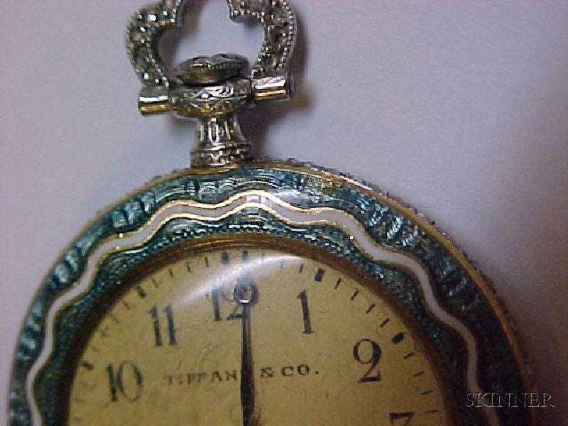 944725ea8334b Edwardian Enamel and Diamond Pendant Watch, Tiffany & Co. | Sale ...