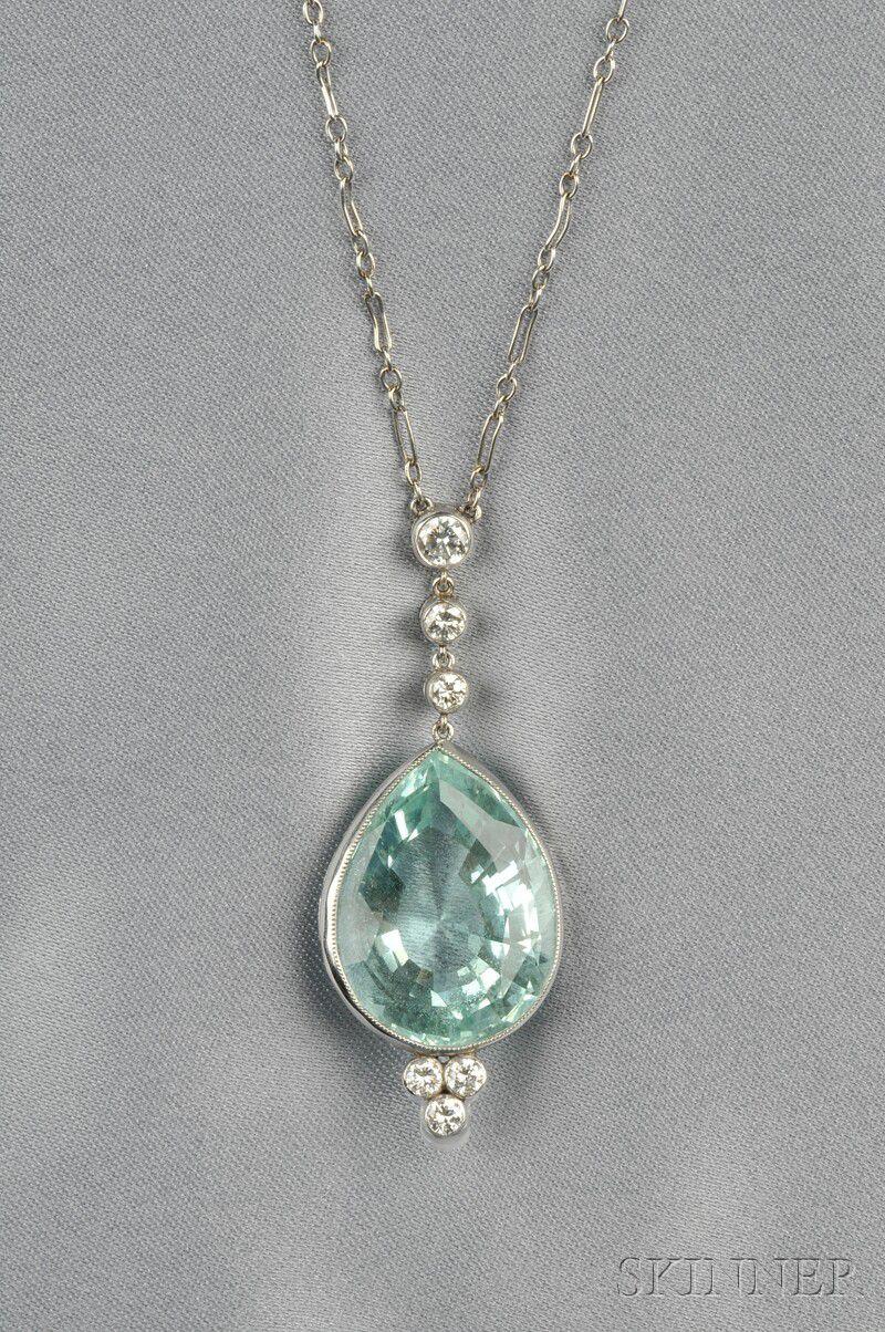 Aquamarine And Diamond Pendant Sale Number 2624b Lot