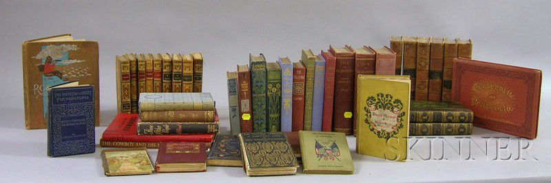 Three Small Sets Of Decorative Leather Bound Books And