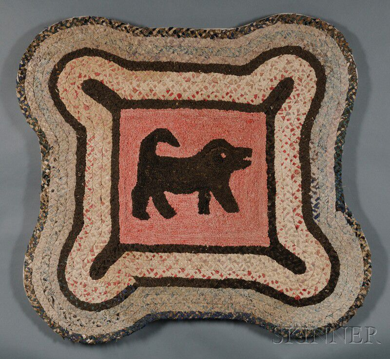 Dog Hooked Rugs: Hooked Rug With Dog And Braided Border