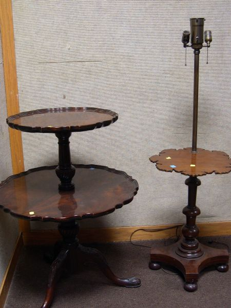 Chippendale Style Carved Mahogany Pie Crust Two Tier