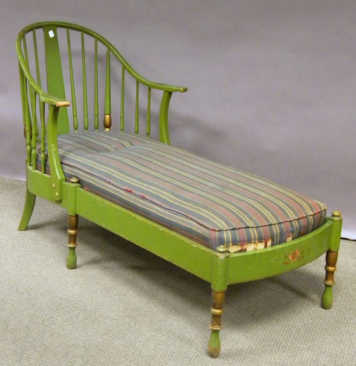 Stickley Colonial Revival Windsor Style Green Painted Maple Chaise