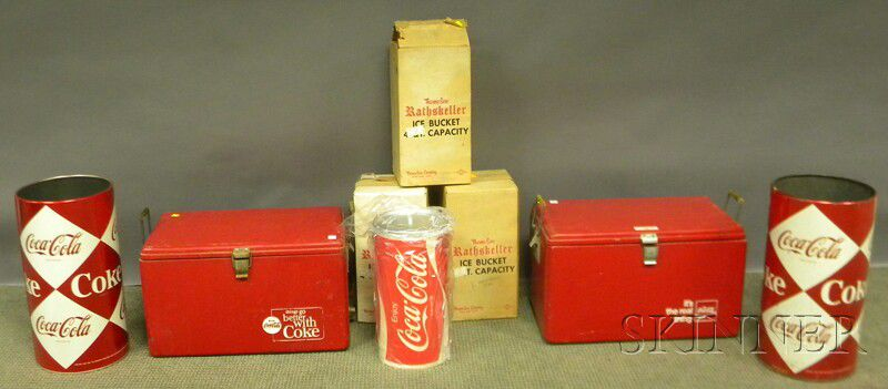 Two Coca Cola Metal Coolers Two Umbrella Stands And Three Ice