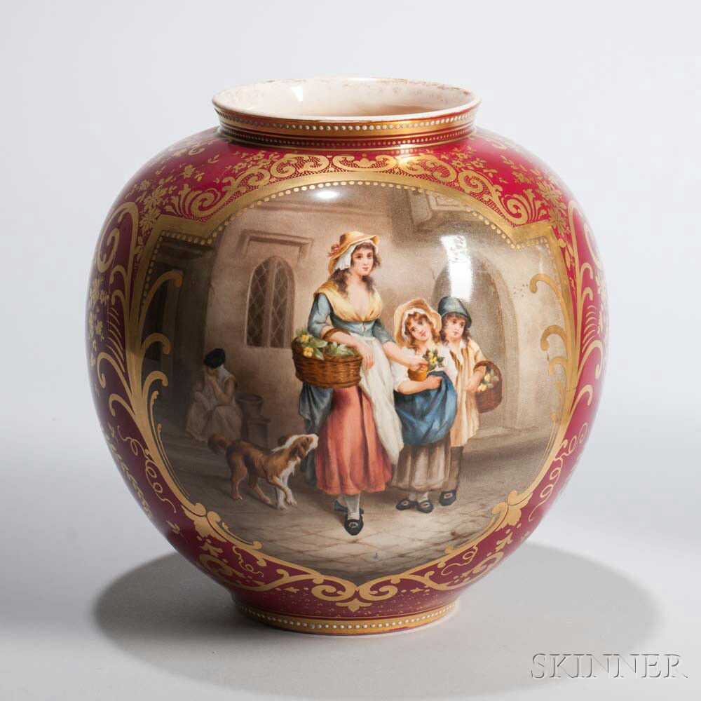 Royal Bonn Porcelain Vase Depicting a Flower Seller | Sale