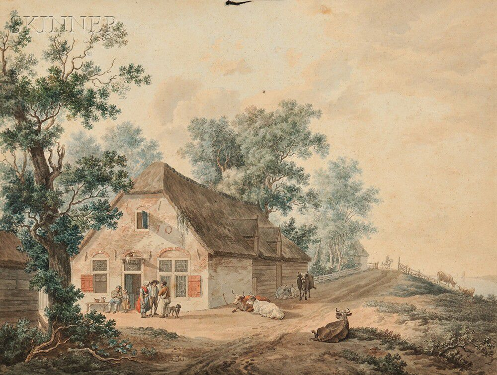 Dutch School, 18th Century Two Landscapes: Outside a Tavern