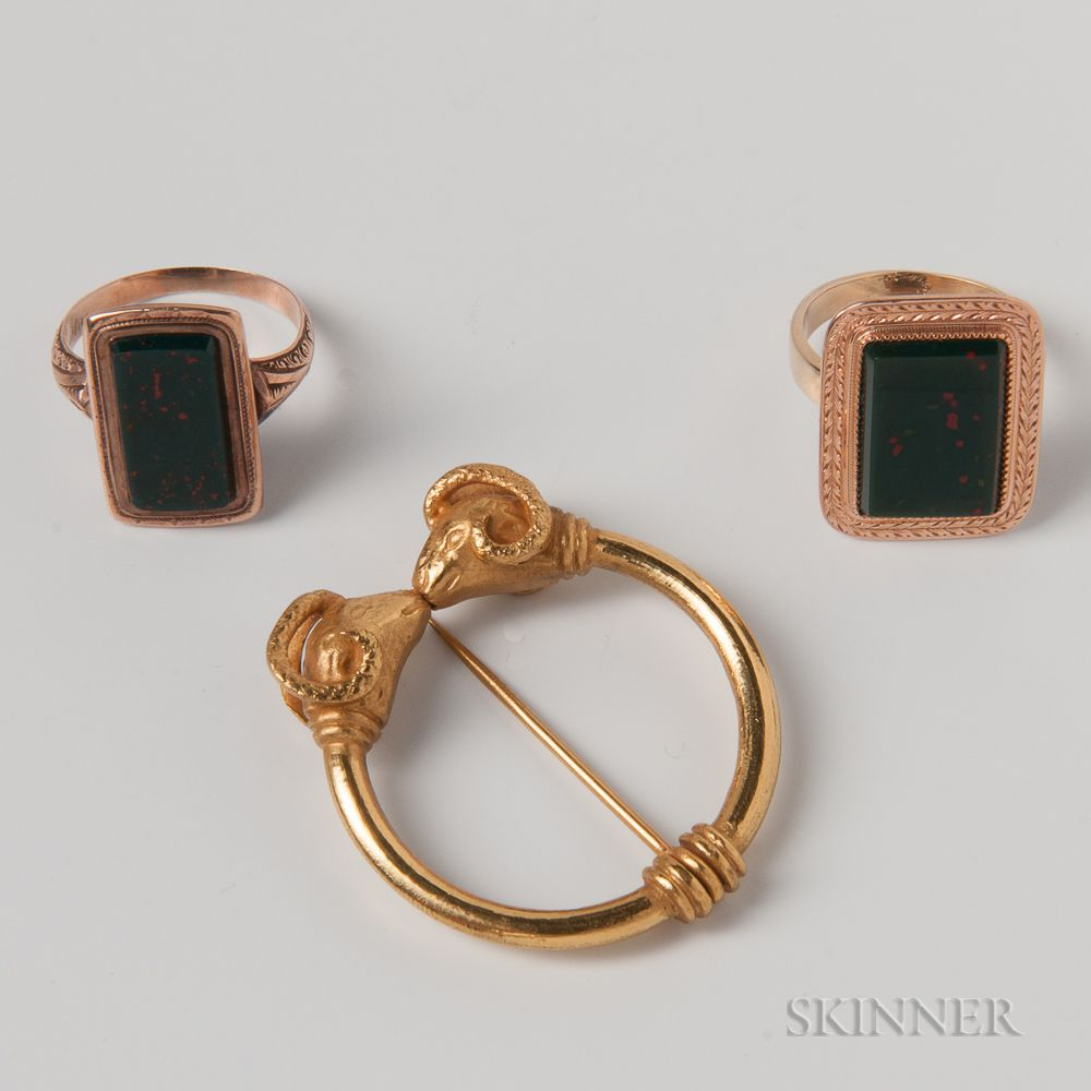 Two Gold and Bloodstone Rings and a Costume Double-ram