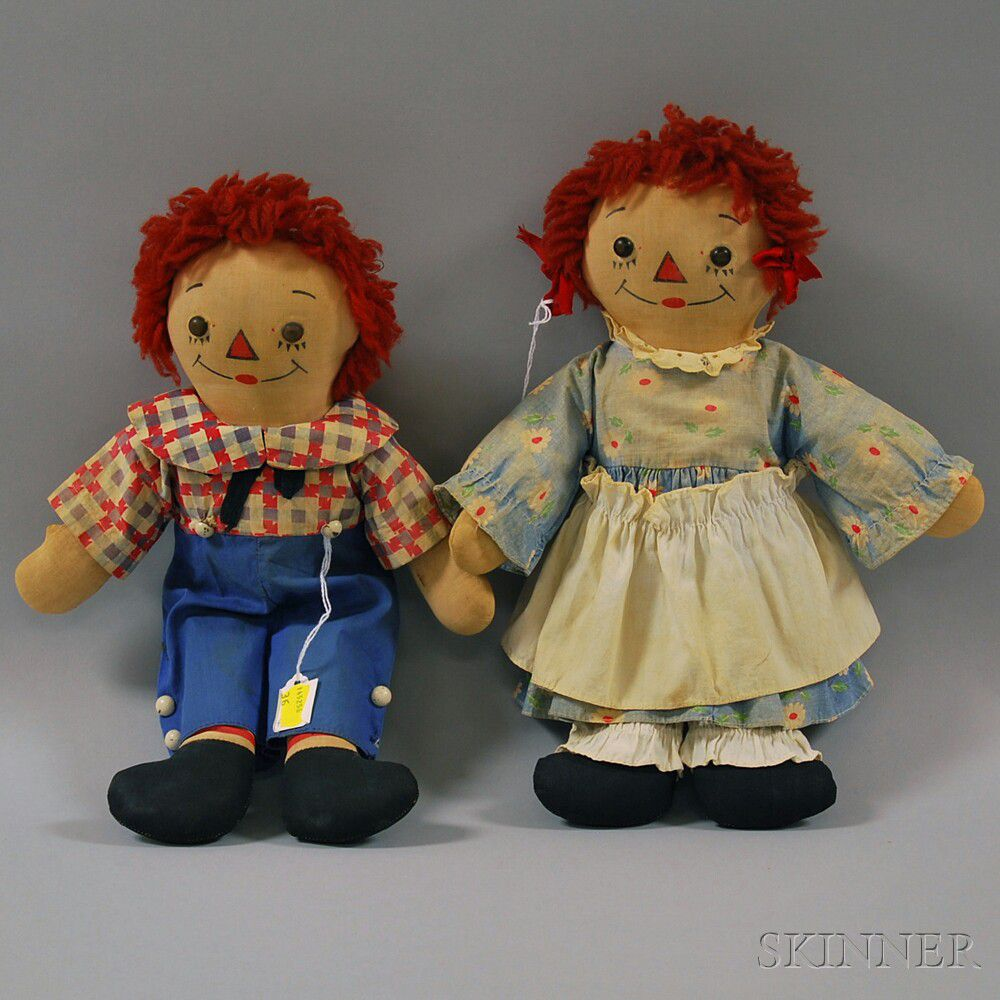 Pair of Georgene Raggedy Ann and Andy Awake/Asleep Dolls ...