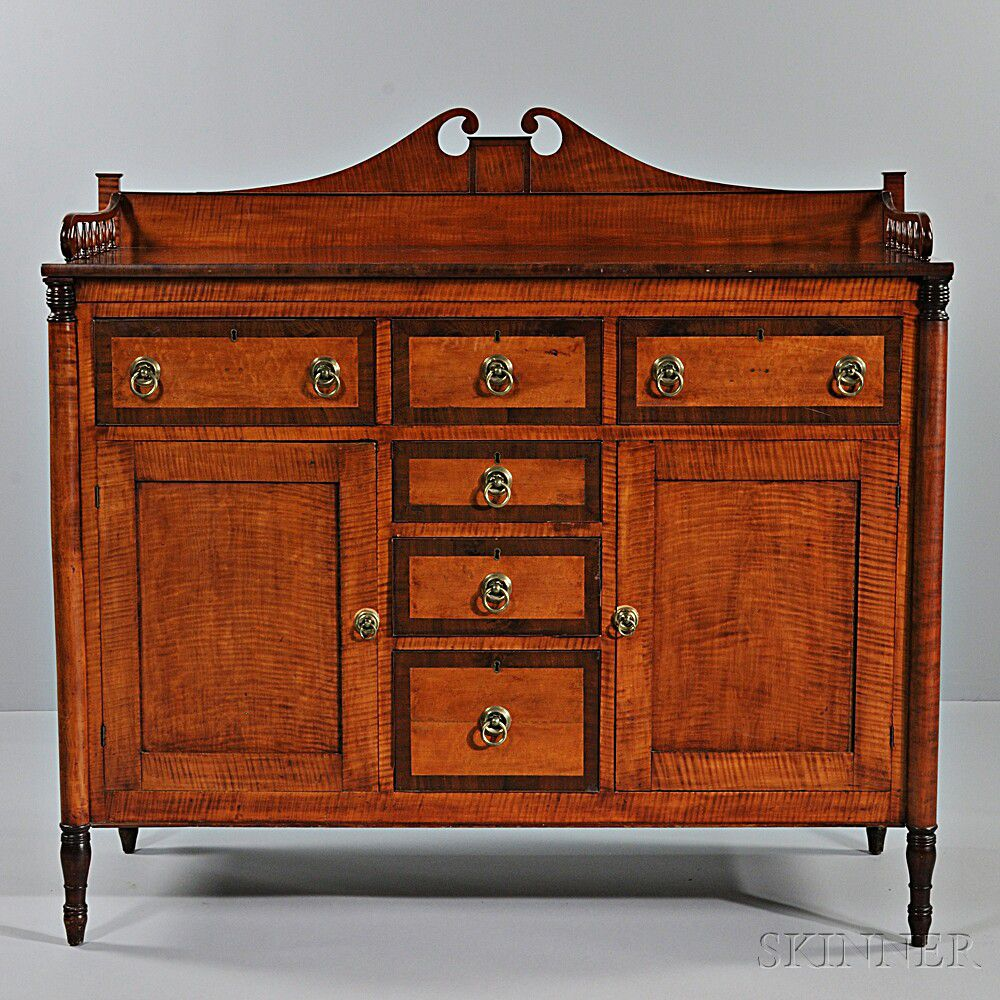 Federal Tiger Maple And Bird S Eye Maple And Mahogany Veneer Sideboard Sale Number 2824t Lot