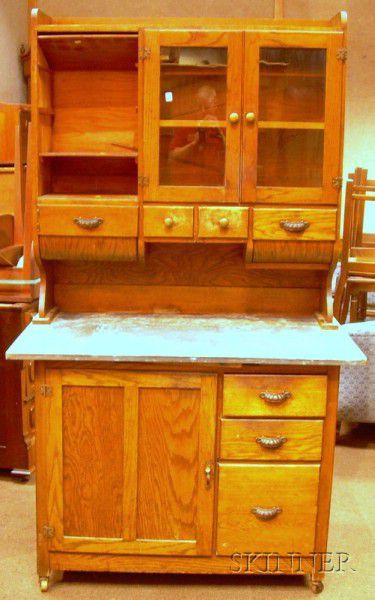 Early 20th Century Hoosier-type Oak Two-part Kitchen ...