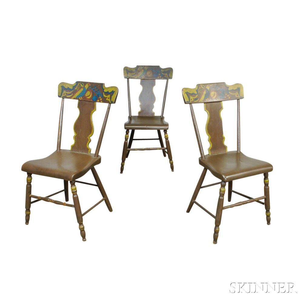 Set Of Three Paint Decorated Fiddle Back Chairs | Sale ...