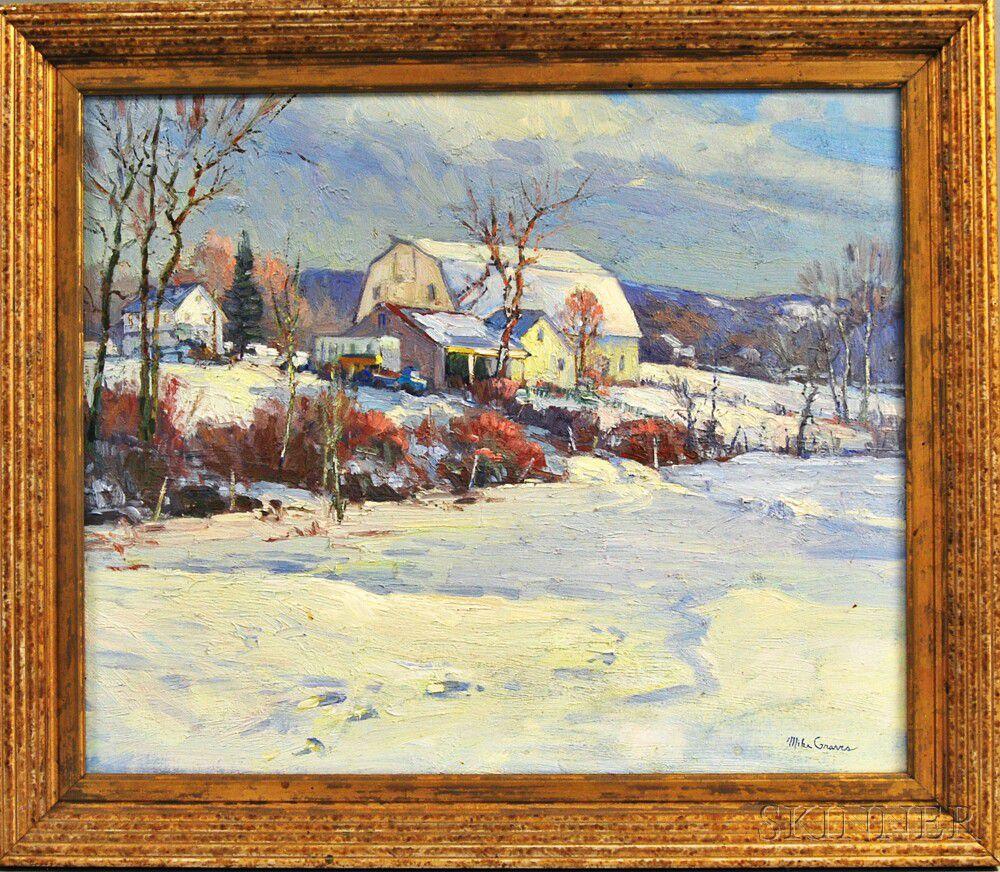 The Skinner Barn: Mike Graves (American, B. 1952) Winter Landscape With Barn