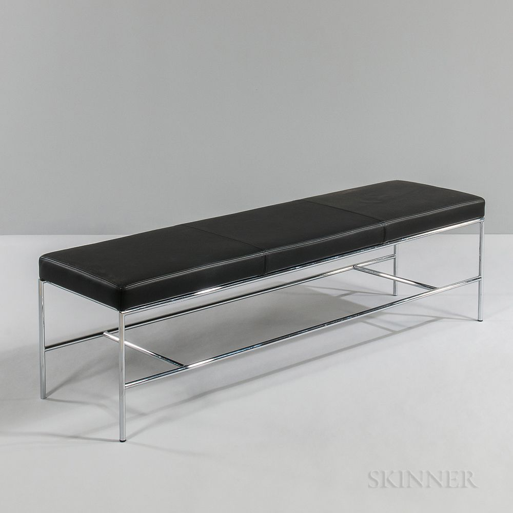 Black Leather And Chrome Bench