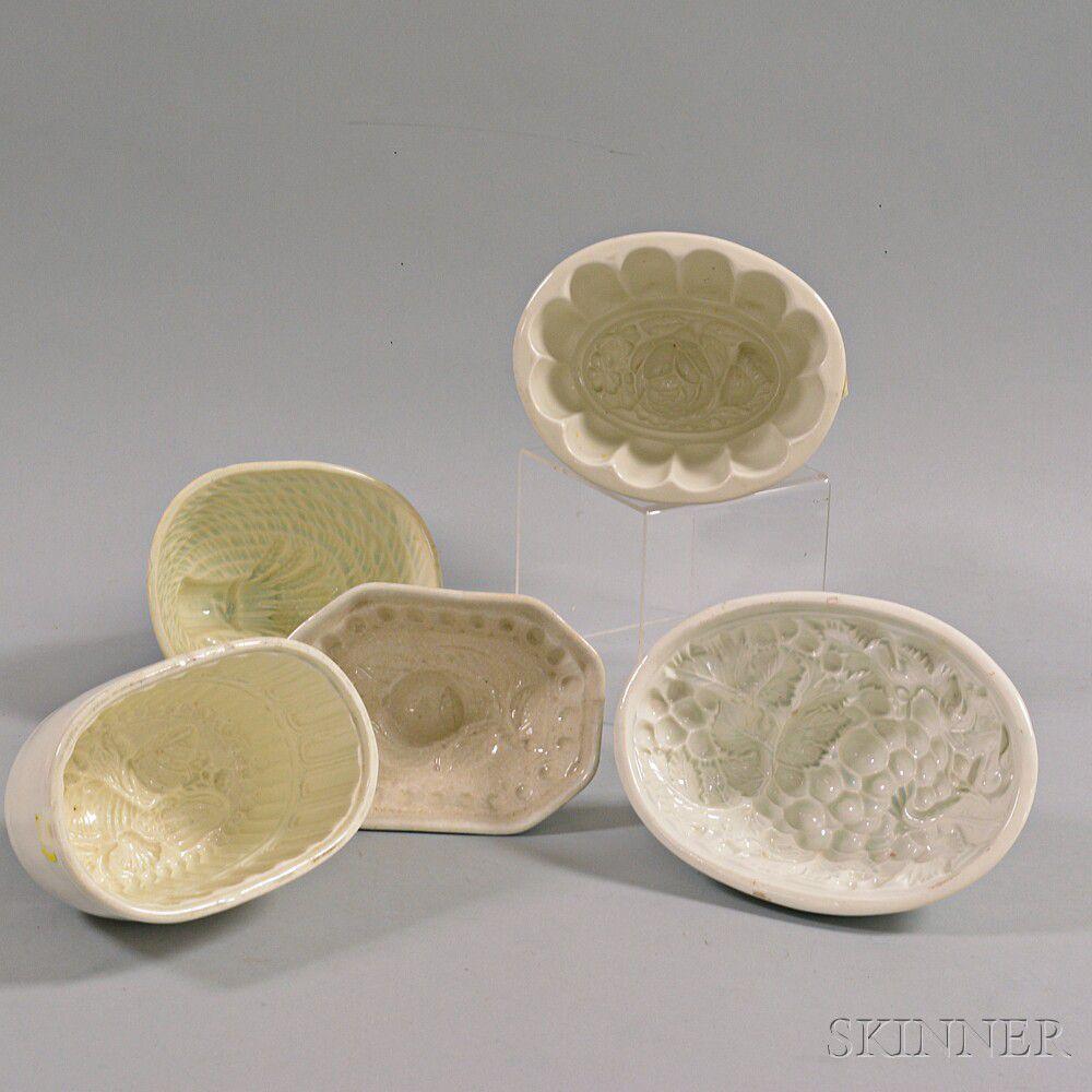 Five Ceramic Food Molds | Sale Number 2938T, Lot Number 1725