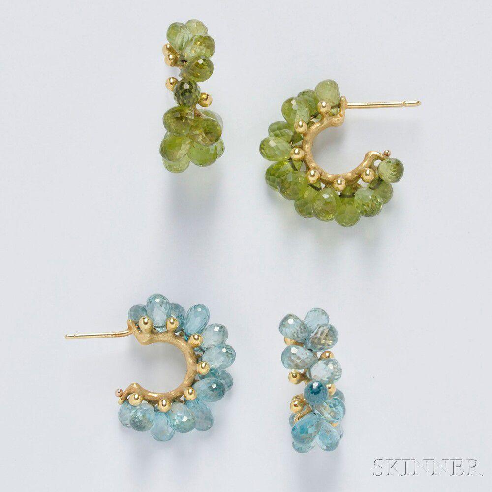 Two Pairs of Joseph Murray 18kt Gold Gem-set Earrings