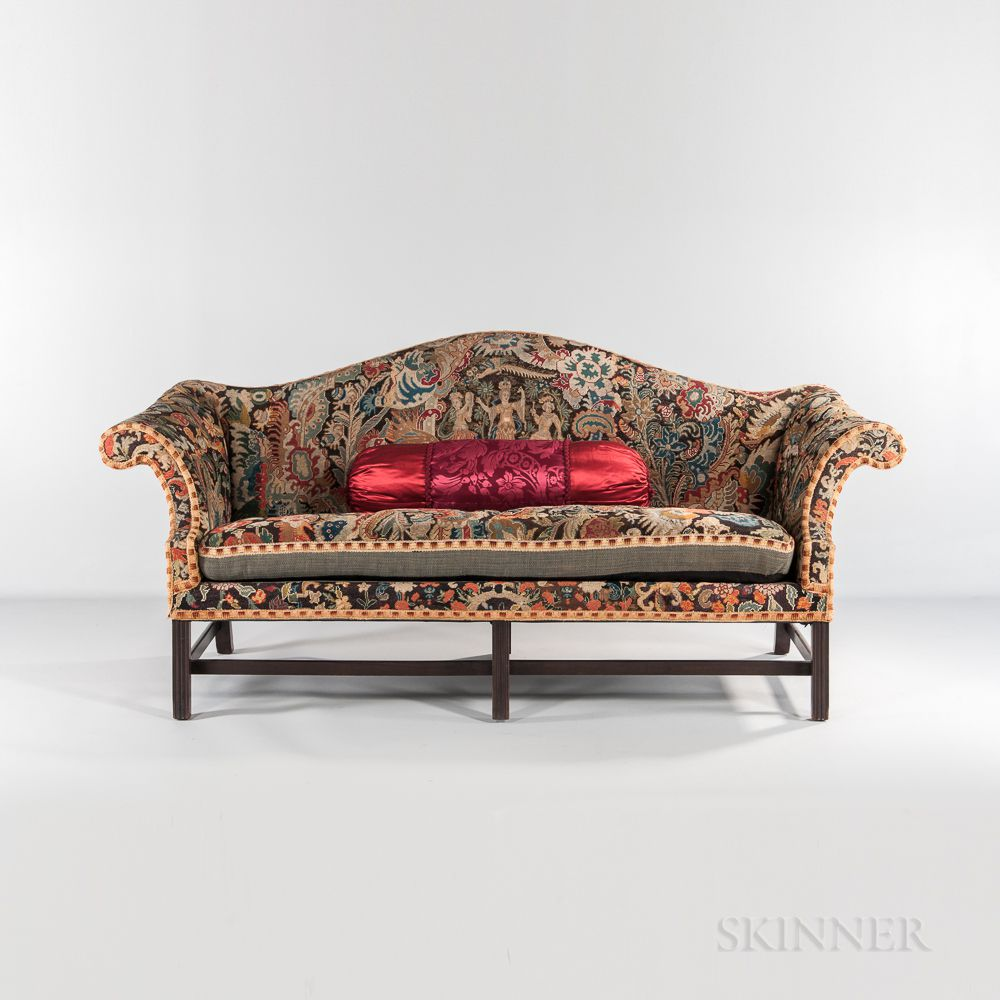 Camel Back Sofa With Needlepoint Upholstery Sale Number