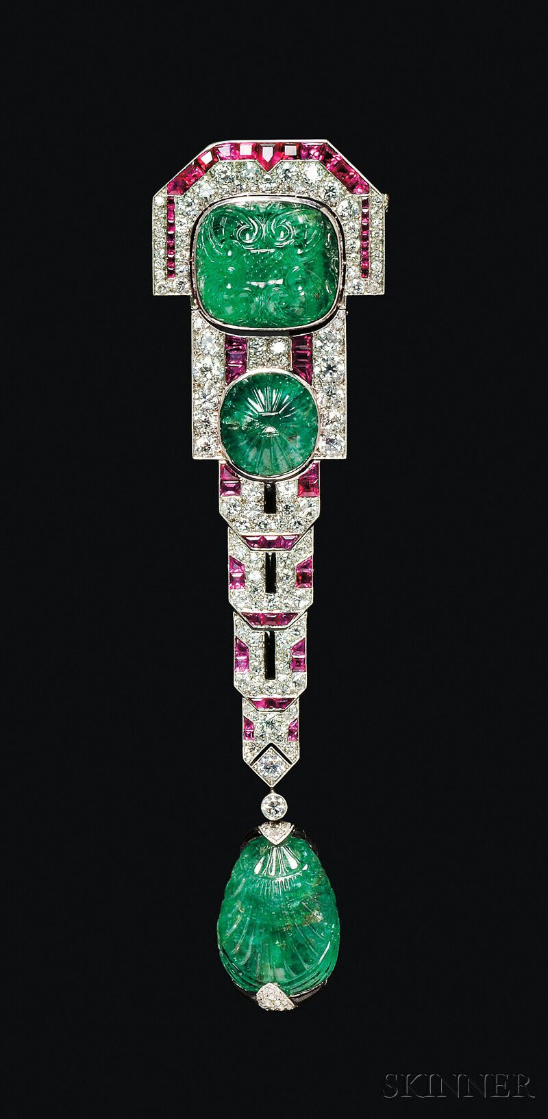 Fine Art Deco Carved Emerald Ruby And Diamond Pendant