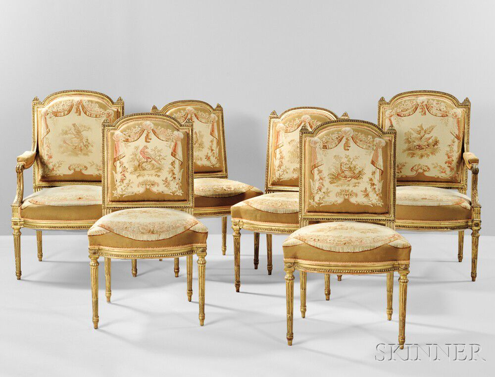 Six Louis Xvi Style Giltwood Dining Chairs