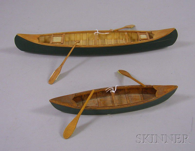 Two Painted Wooden Old Town Canoe Models   Sale Number 2478, Lot