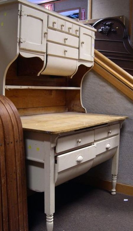 Painted Maple Two-Part Hoosier Cabinet. | Sale Number 2290 ...
