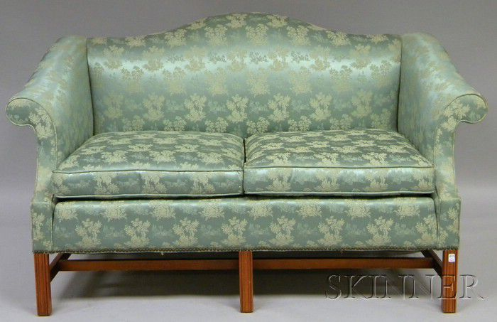 Western Carolina Furniture Co Chippendale Style Damask Upholstered Camel Back Maple Settee