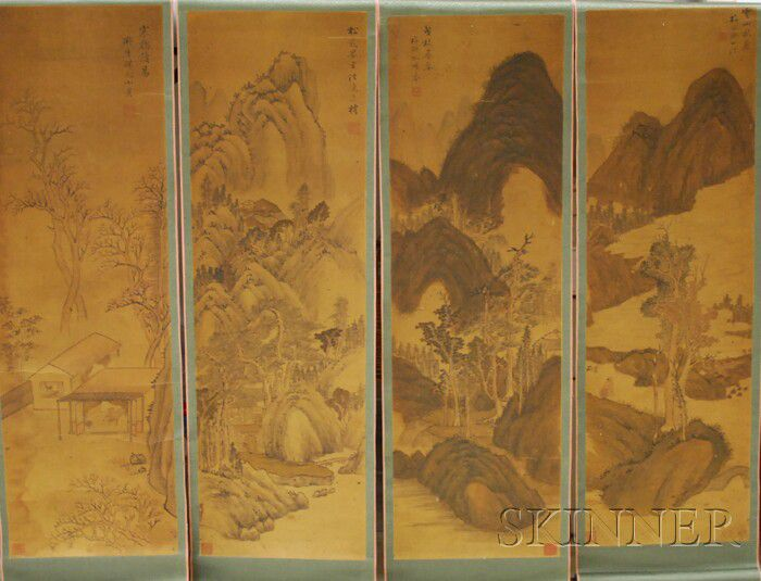 Three 19th Century Japanese Watercolor Mountain Landscape