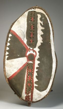 African Painted Wood and Hide Shield | Sale Number 2237, Lot
