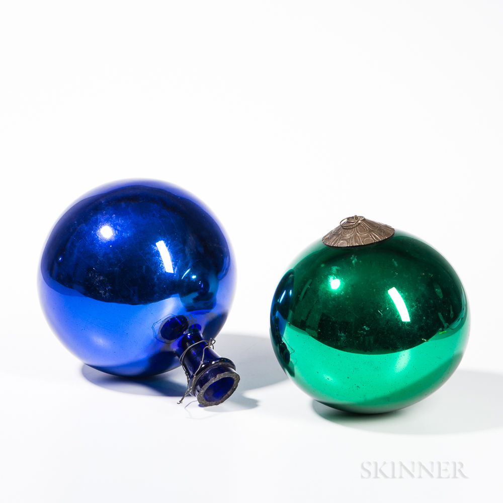 Two Large Sphere Kugel Christmas Ornaments Sale Number 3222b Lot