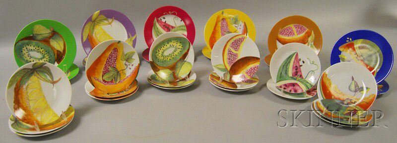 Two Sets of Philippe Deshoulieres Limoges Porcelain Transfer