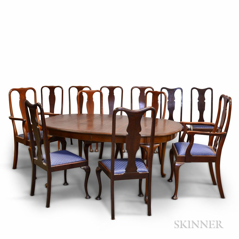 Fantastic Queen Anne Style Mahogany Dining Table And Twelve Chairs Download Free Architecture Designs Scobabritishbridgeorg