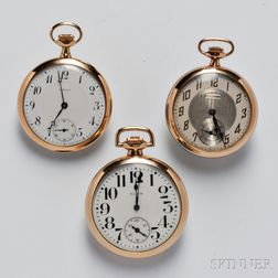 Three Open Face Pocket Watches
