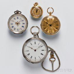 Four Open Face European Watches