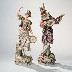Pair of Royal Dux Ceramic Musicians