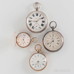 Four 19th and 20th Century Key-wind Watches