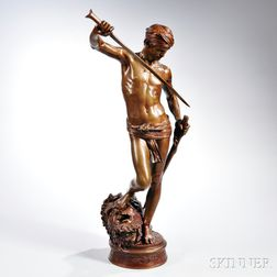 After Marius-Jean-Antonin Mercié (French, 1845-1916)       Bronze Figure of David