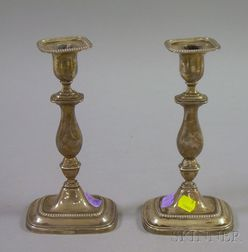 Pair of English Sterling Silver Weighted Tall Candlesticks