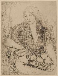 Edmond François Aman-Jean (French, 1858-1936)      La femme à la corbeille
