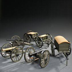 Three G.W. Funt Model Cannons, a Limber and Caisson, and a Battery Wagon