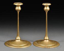Pair of Arts & Crafts Brass Candlesticks