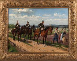 Ernst Zimmer (German, 1864-1924)      Prussian Cavalrymen Pausing for Direction.