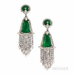 Fine Pair of David Webb Jadeite Jade and Diamond Earrings