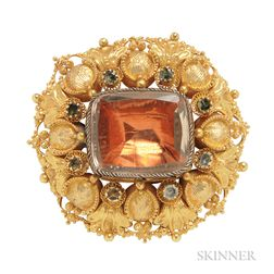 Antique Gold Gem-set Brooch