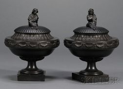 Pair of Wedgwood and Bentley Black Basalt Vases and Cover
