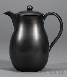 Wedgwood and Bentley Black Basalt Hot Water Jug and Cover