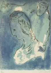 Marc Chagall (Russian/French, 1887-1985)  Abraham and Sarah