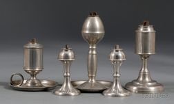 Five Pewter Lamps