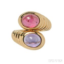 18kt Gold, Pink Tourmaline, and Amethyst Ring, Bulgari