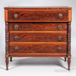 Carved and Inlaid Mahogany Chest of Four Drawers