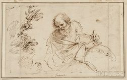 Manner of Giovanni Francesco Barbieri Guercino, called il Guercino (Italian, 1591-1666)      Sketch of an Astronomer